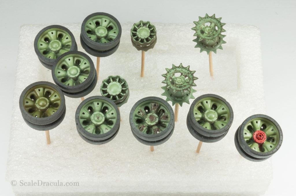 Painted wheels, ZSU-57 by TAKOM