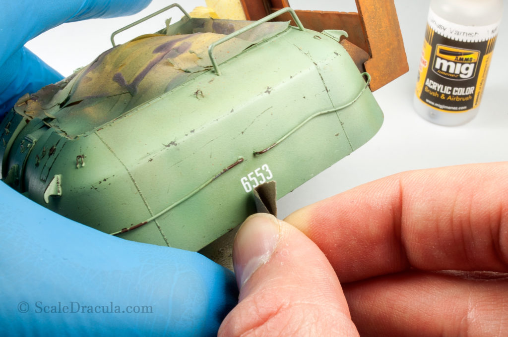 Sanding the decal, ZSU-57 by TAKOM