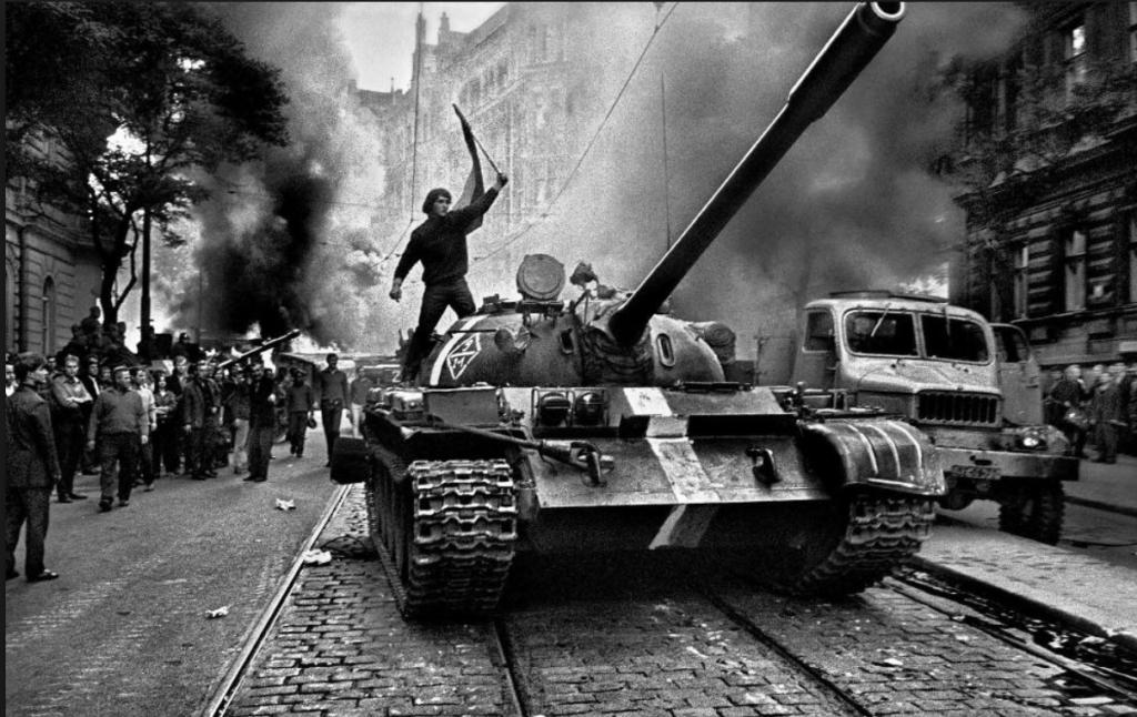 Tank with invasion stripes, Prague 1968