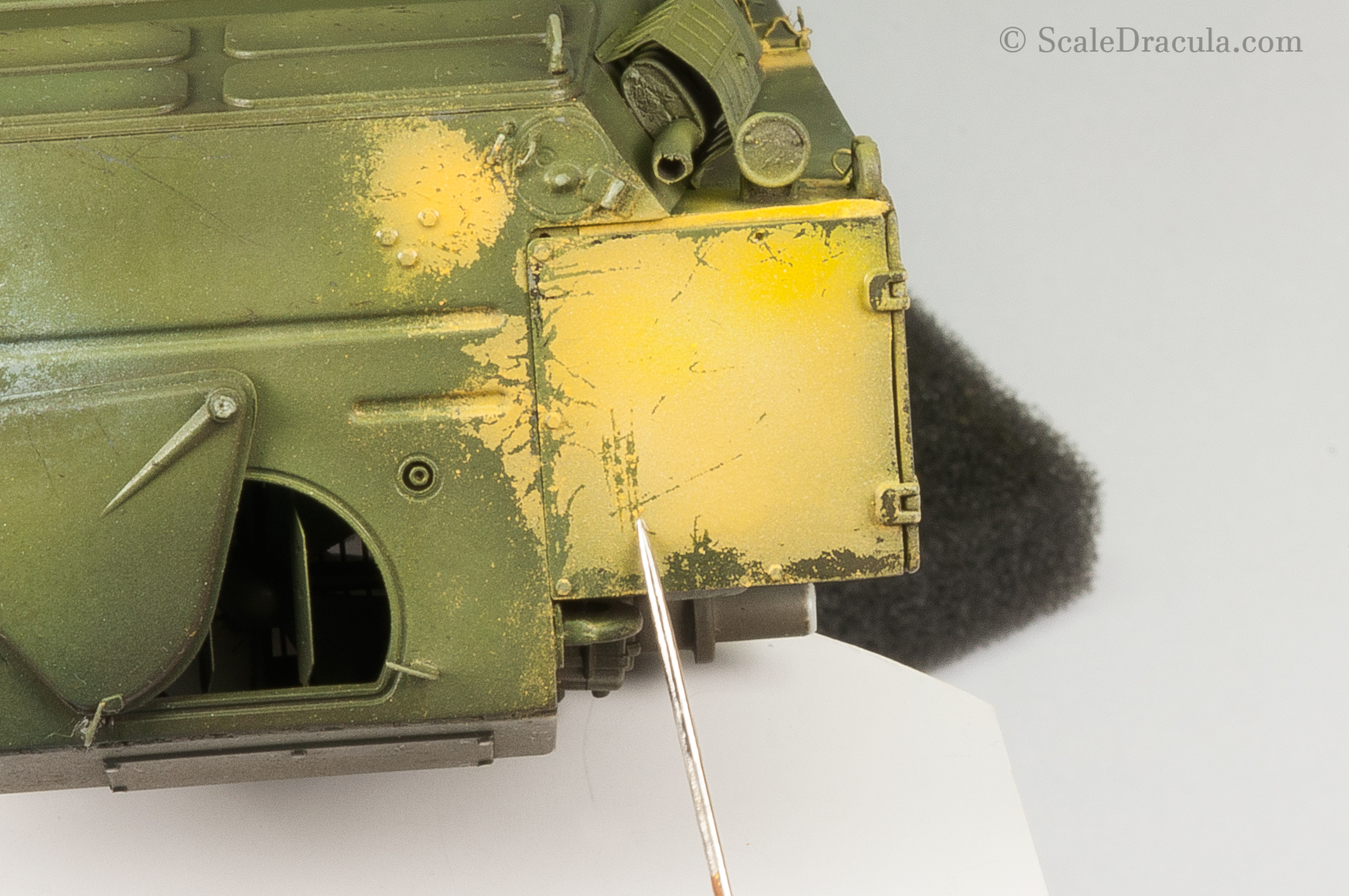 Paint scratches on yellow camouflage, BRDM-2 by Trumpeter