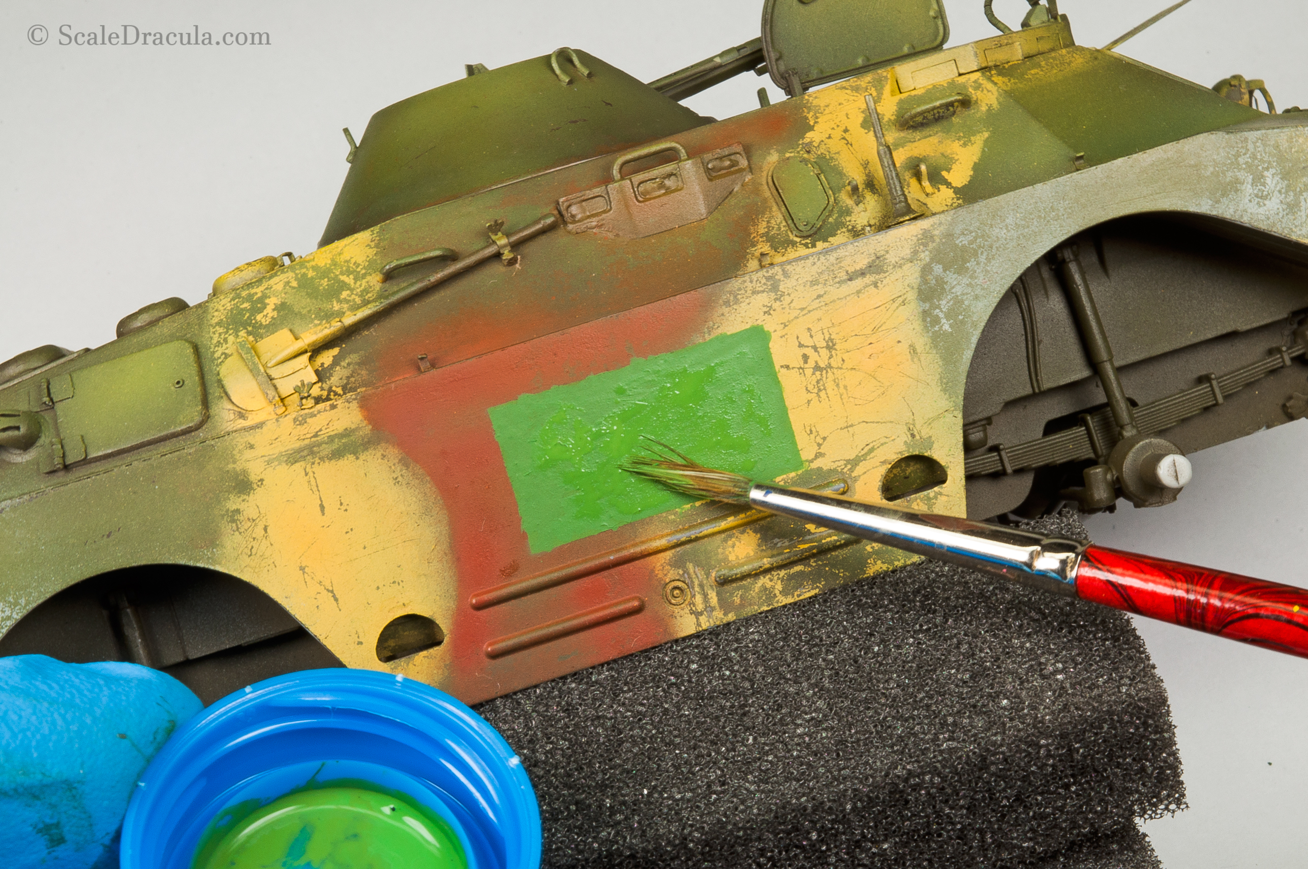 Acrylic paint thickened with talcum powder, BRDM-2 by Trumpeter
