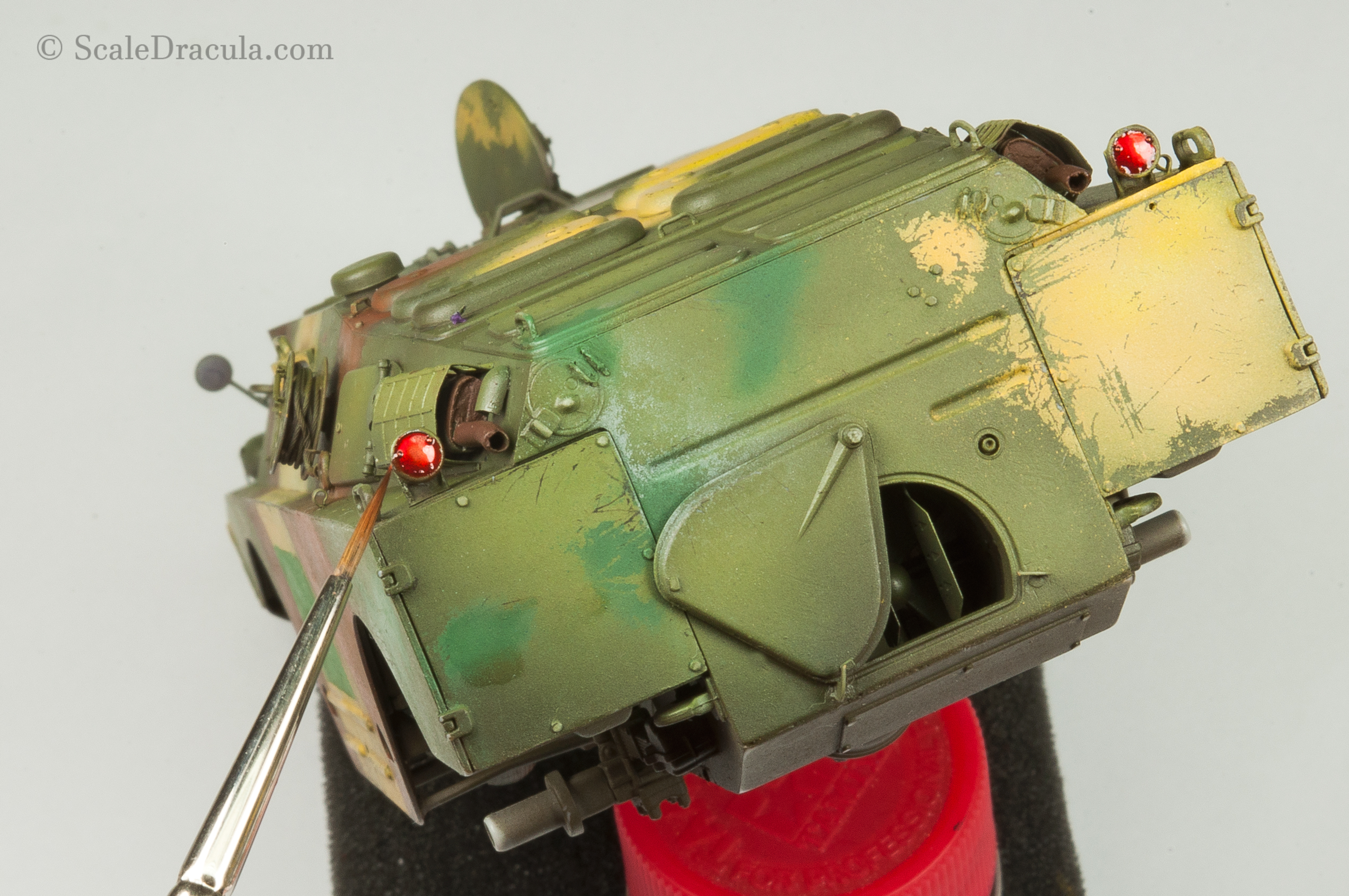 Painting rear lights with Tamiya clear red, BRDM-2 by Trumpeter