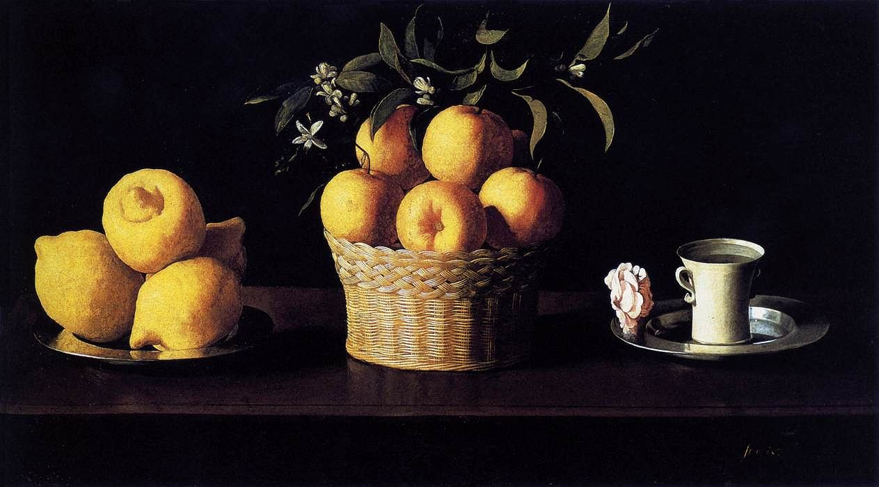 Still life with lemons, oranges and roses by Francisco de Zurbaran