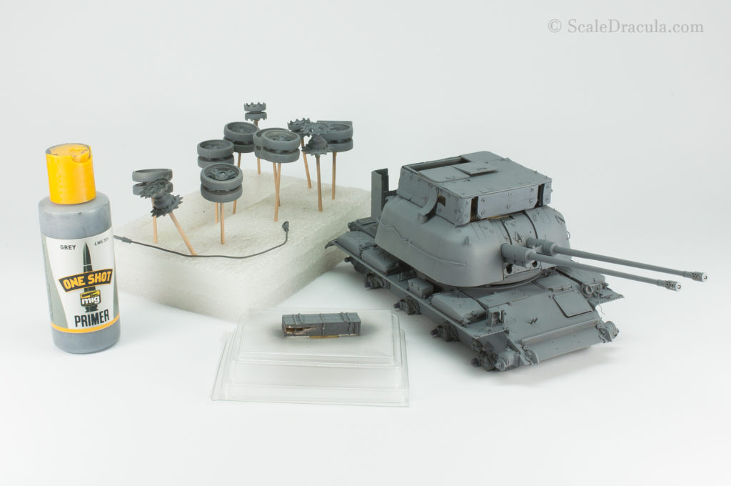 Priming the model, ZSU-57 by TAKOM