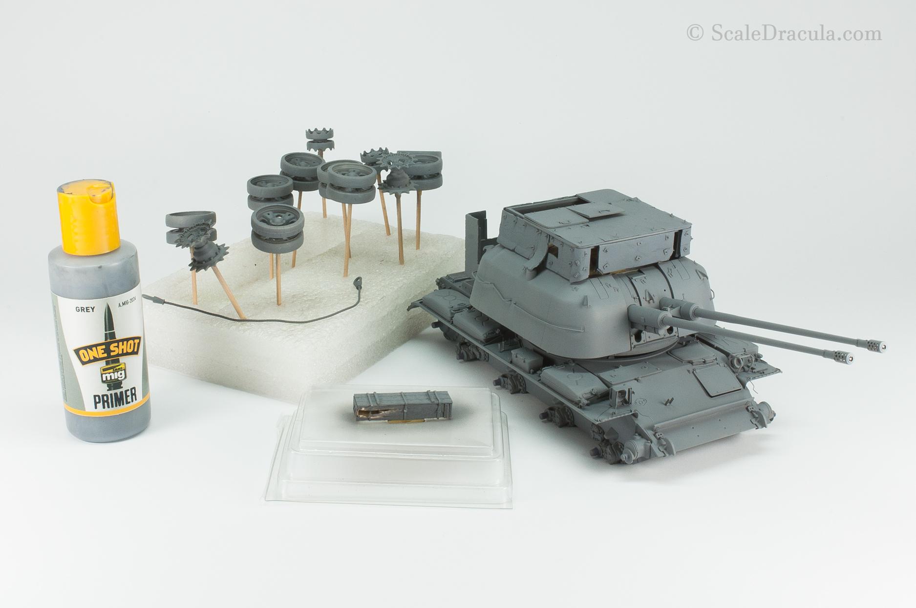 Priming the model, ZSU-57 by TAKOM
