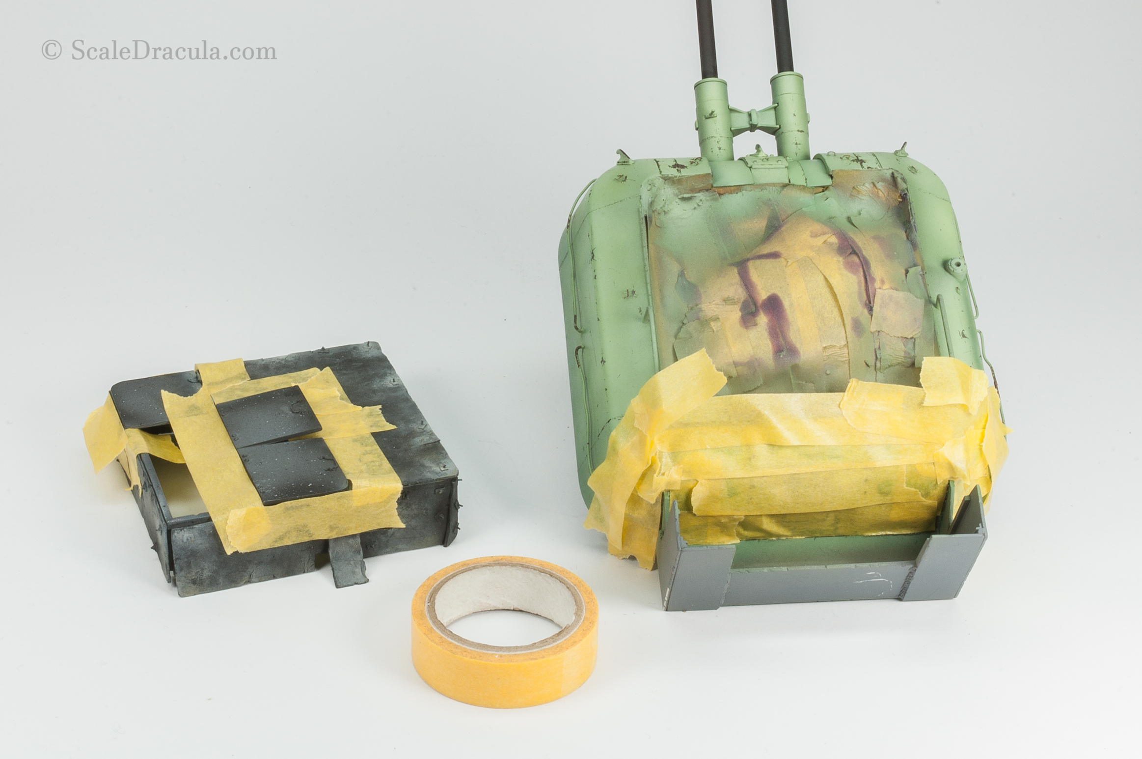 Securing the model with Tamiya masking tape, ZSU-57 by TAKOM