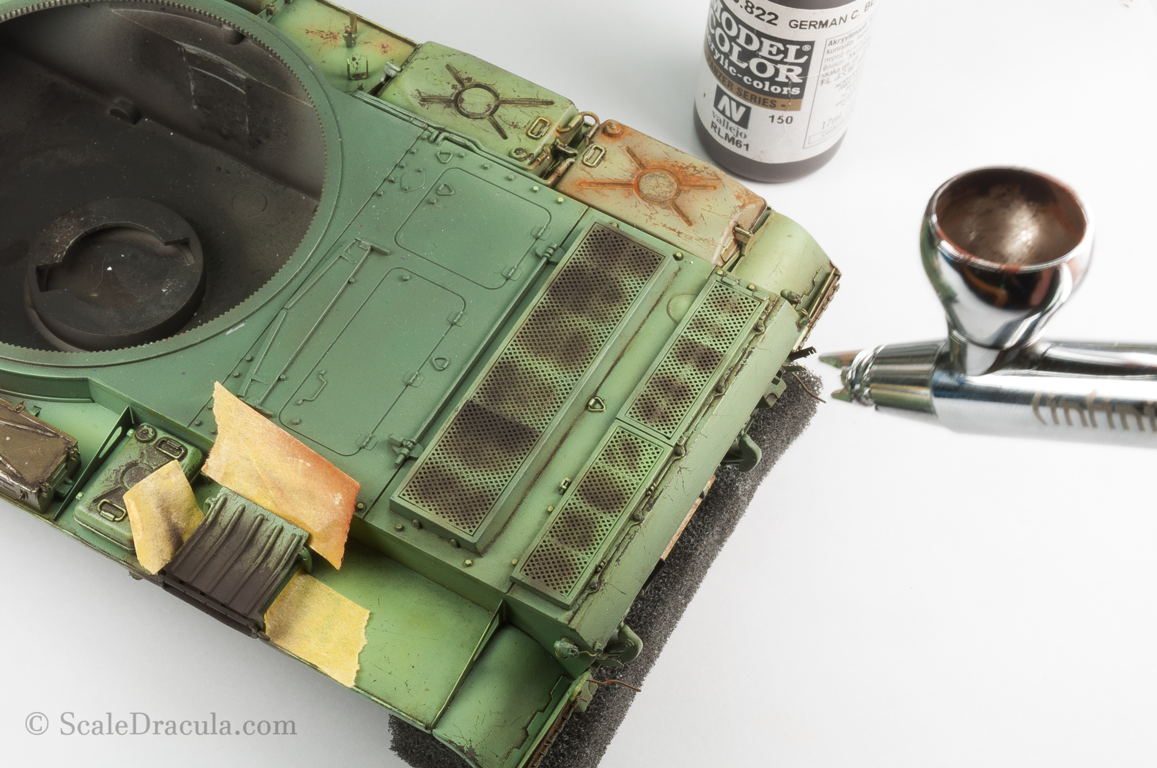Painting engine grills, ZSU-57 by TAKOM