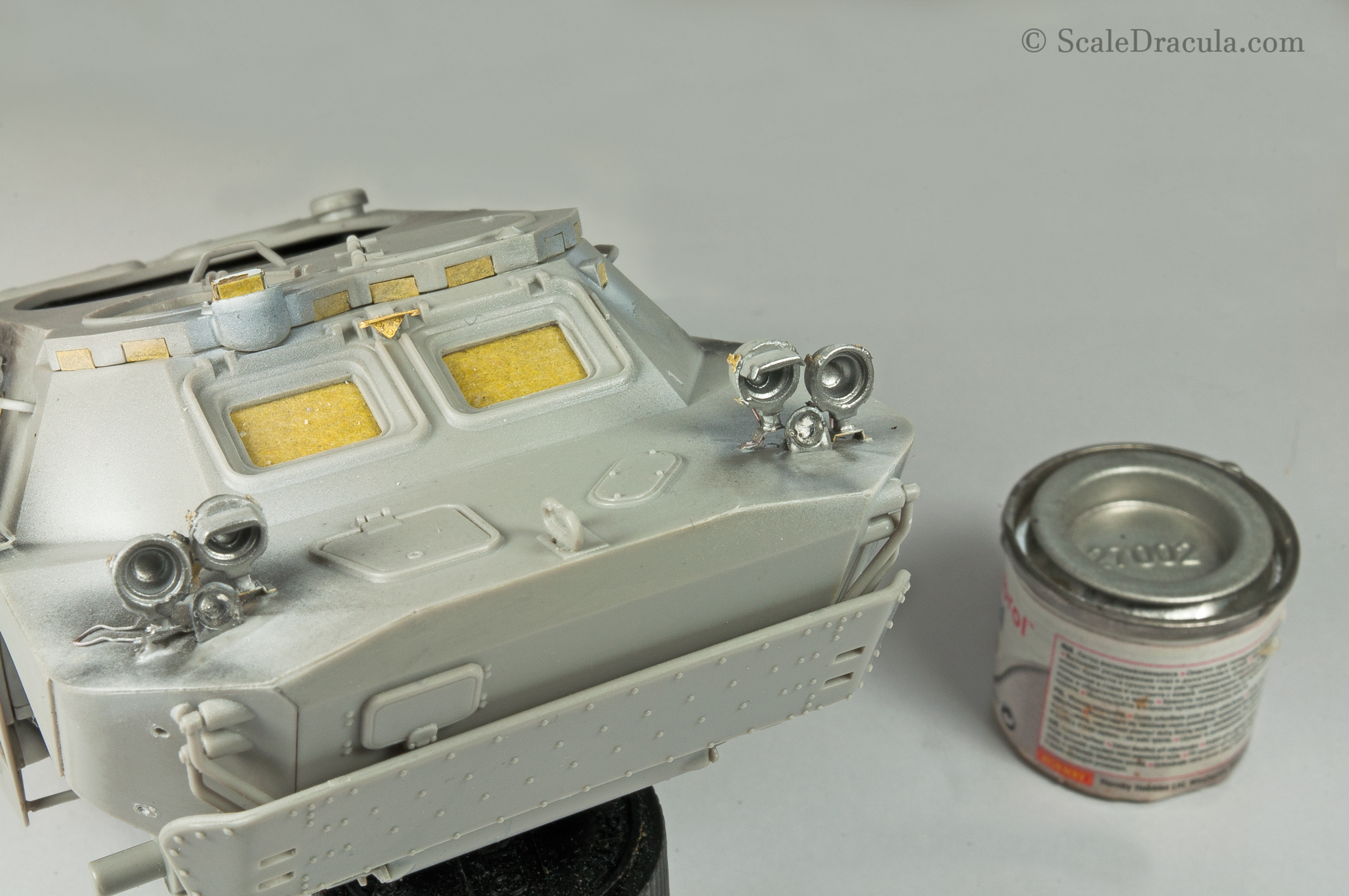 Headlight painted with Humbrol 27002, BRDM-2 by Trumpeter