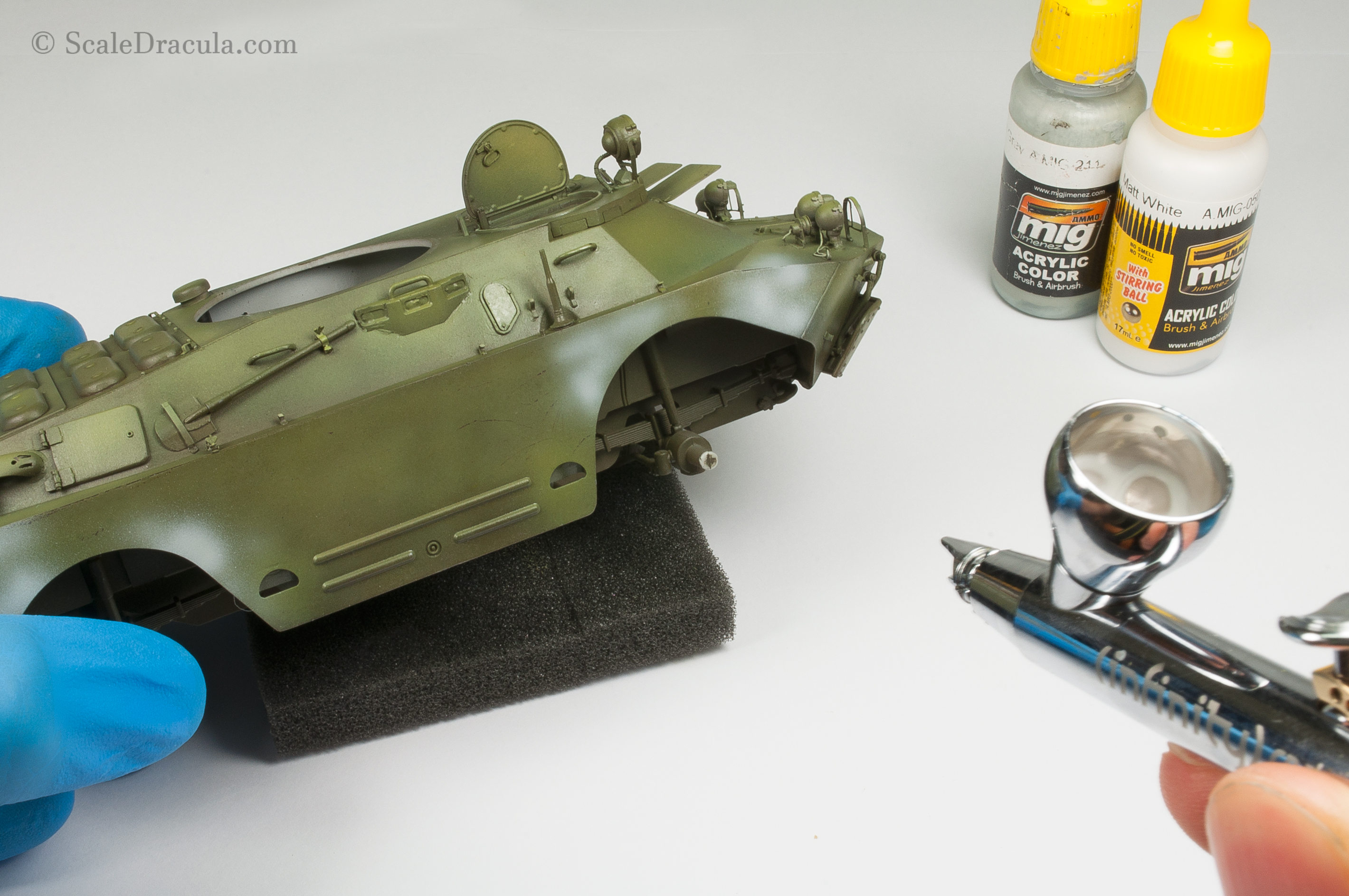 Applying white washable camouflage, BRDM-2 by Trumpeter