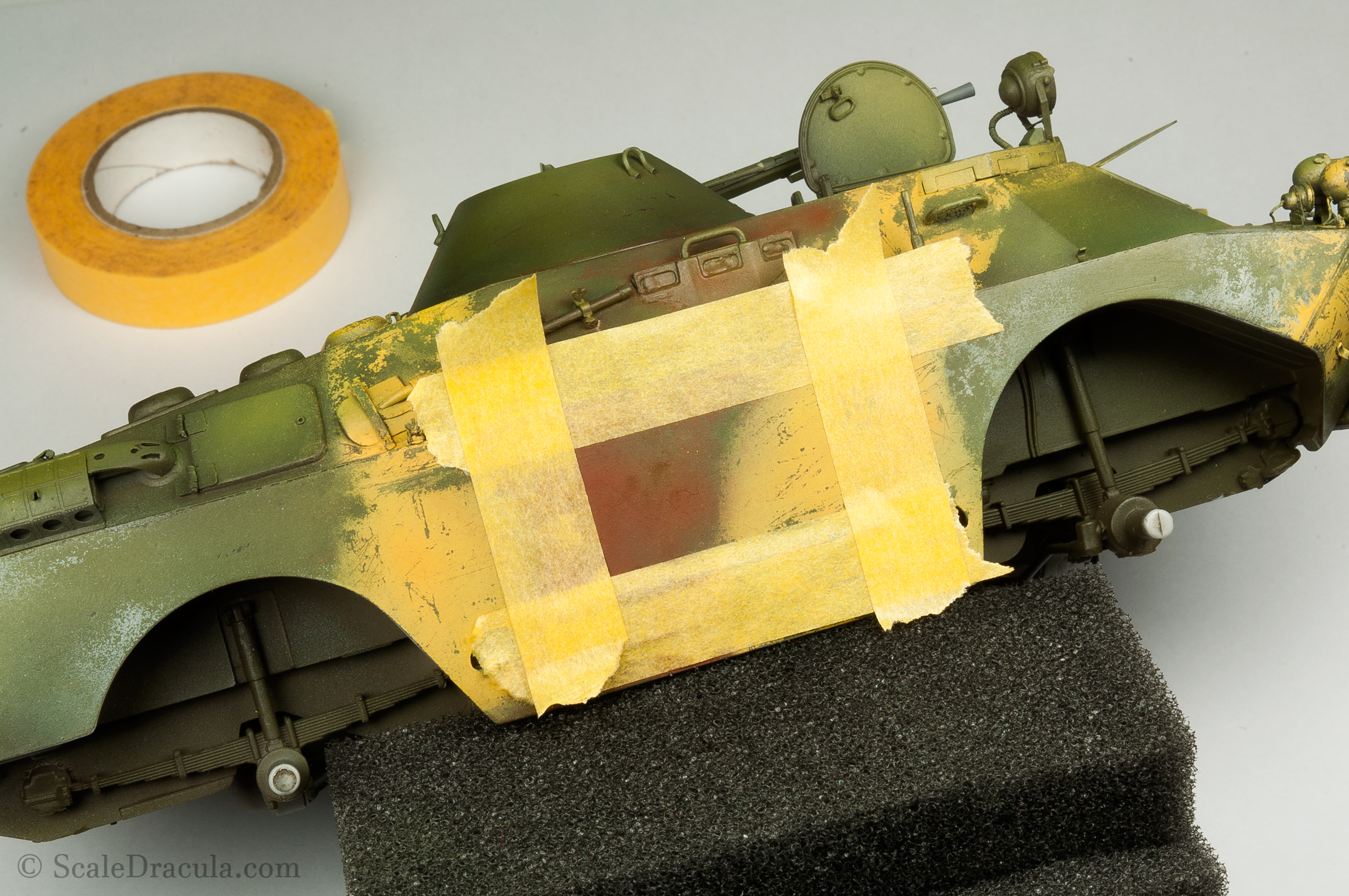 Masking with Tamiya tape, BRDM-2 by Trumpeter