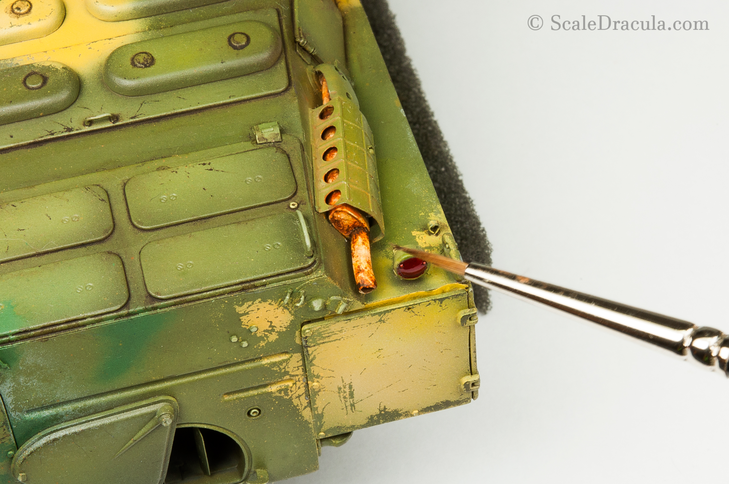 Painting rusty exhaust pipes, BRDM-2 by Trumpeter