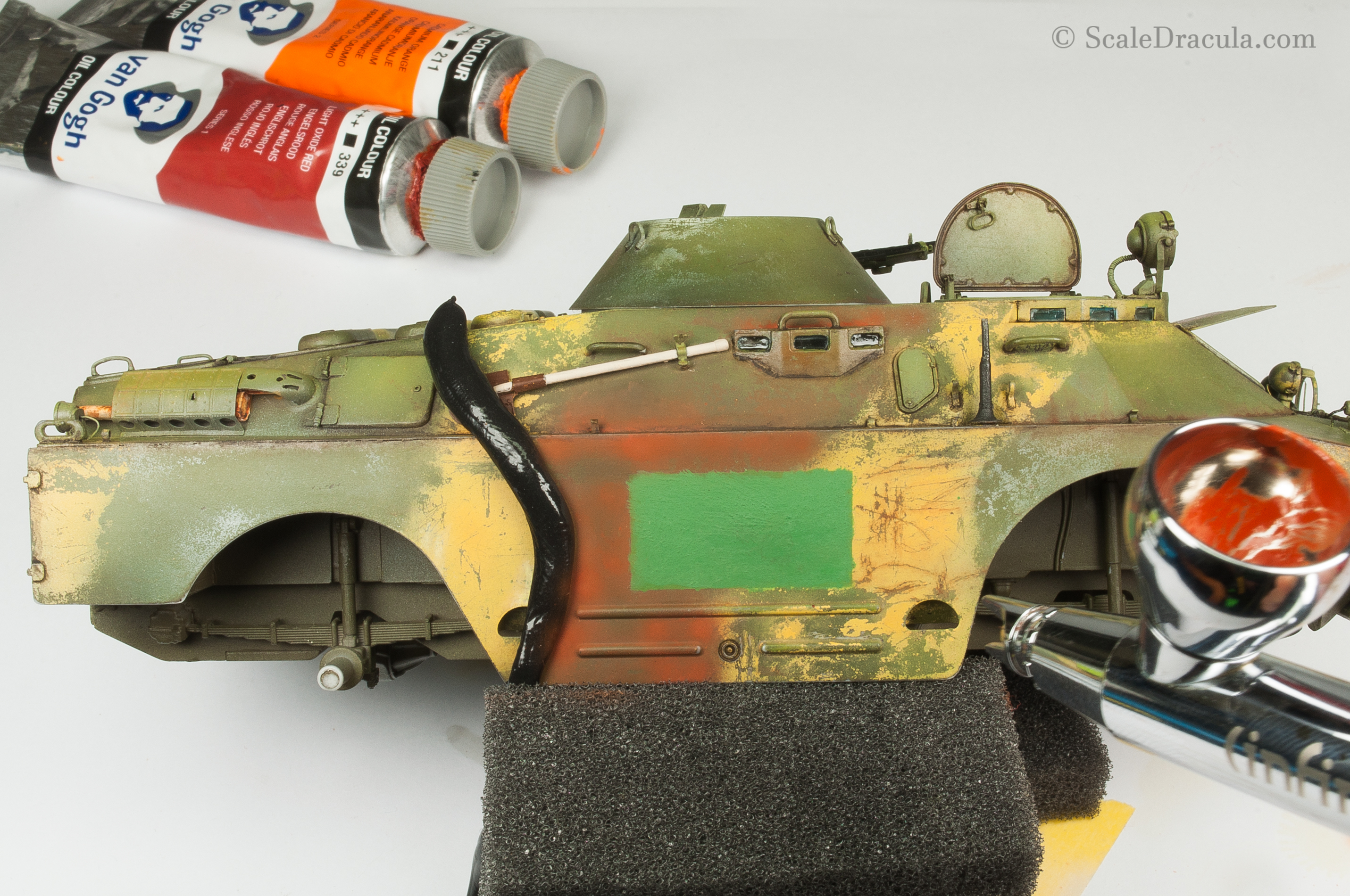 Airbrushing oil paints, BRDM-2 by Trumpeter