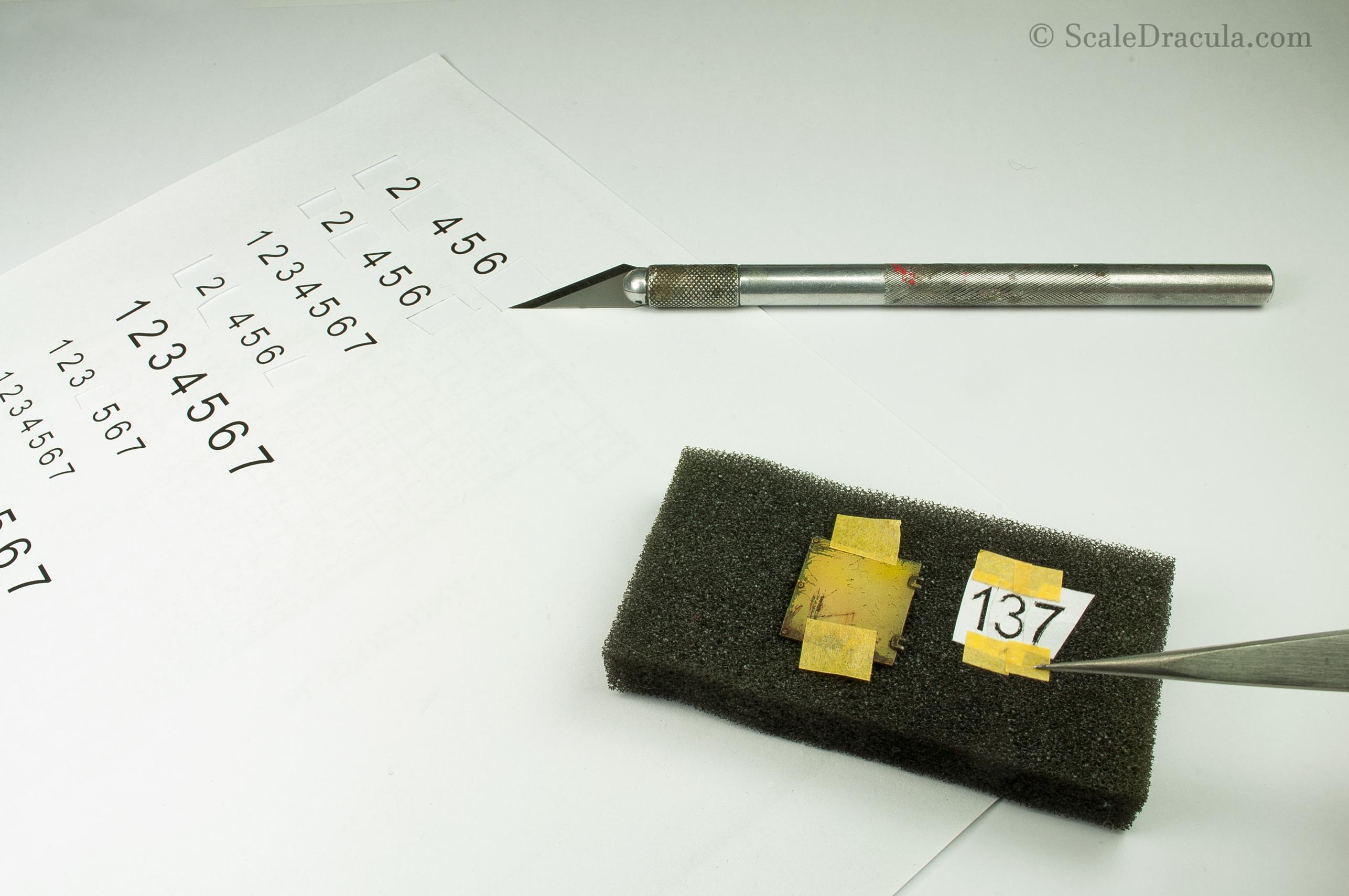 Preparing numbers stencils, BRDM-2 by Trumpeter