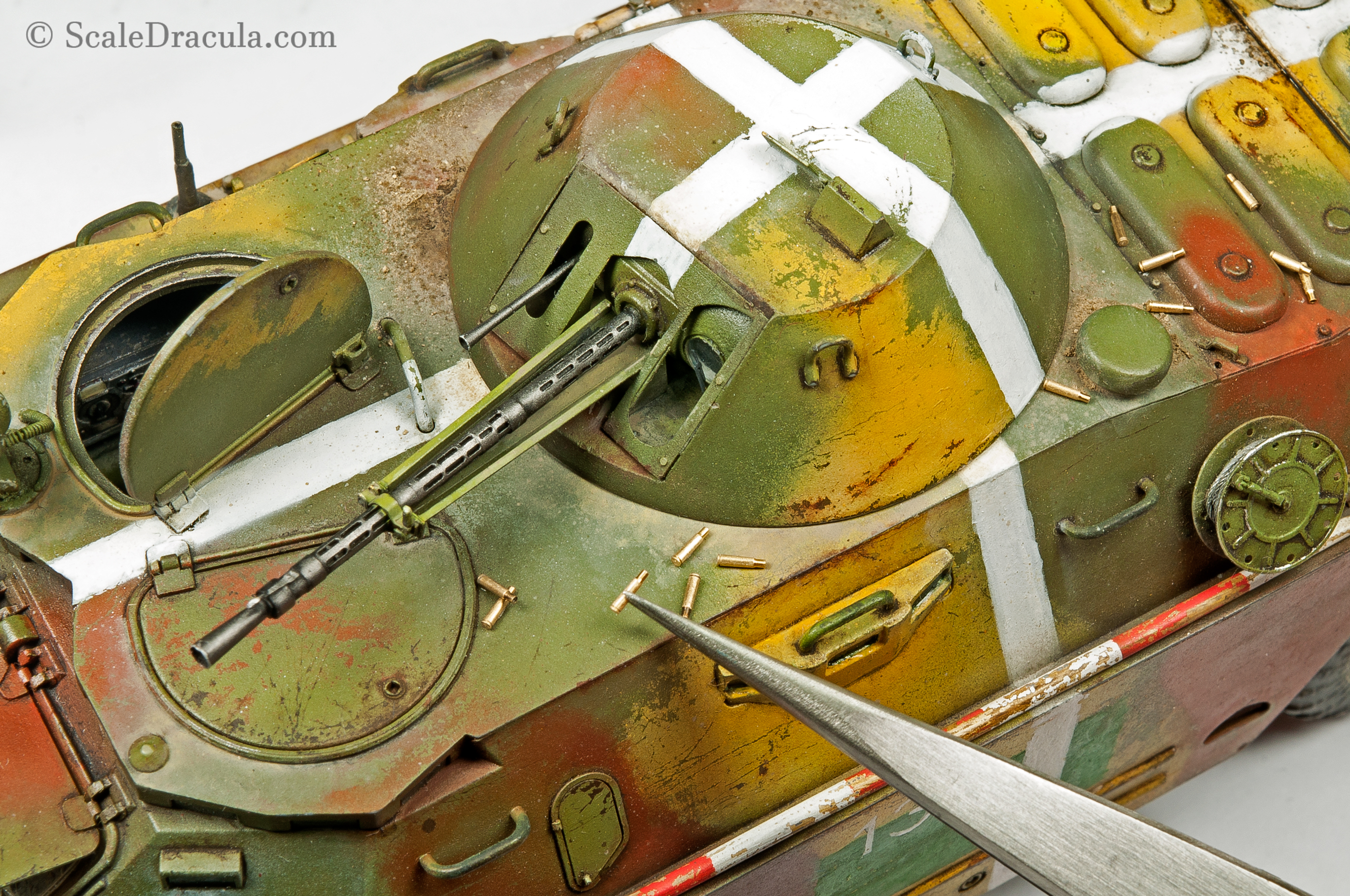 Placing the empty shells on the model, BRDM-2 by Trumpeter